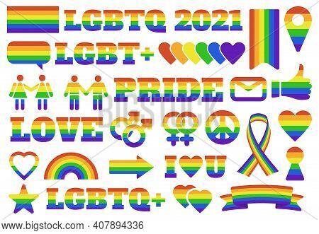 Pride Lgbtq Symbols. Gay Parade Elements, Lgbt Community Rainbow Gender Signs, Pride Flag And Hearts