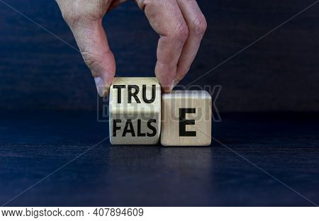 False Or True Symbol. Businessman Flips A Wooden Cube And Changes The Word 'false' To 'true' Or Vice