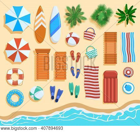 Beach Elements Top View. Sandy Beach Elements, Tropical Palms, Chairs, Umbrellas View From Above. Oc