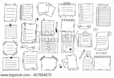 Hand Drawn Doodle Paper Notes. Sketch Notebook, List, Planner And Diary, Bullet Journal Paper Sheets