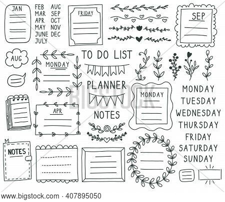 Bullet Journal Elements. Hand Drawn Doodle Notebook Bullets, Notebook, Schedule Calendar. Doodle Bul
