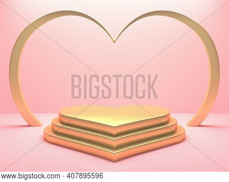Gold Metallic Heart Podium On Pink Background. Happy Valentines Day Concept. 3d Rendering