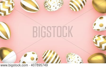 Frame Of Easter Eggs On Pink Background With Space For Text. 3d Rendering