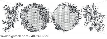 Lace Floral Elements. Vintage Decorative Pattern, Beautiful Floral Wedding Lace Decoration. Romantic