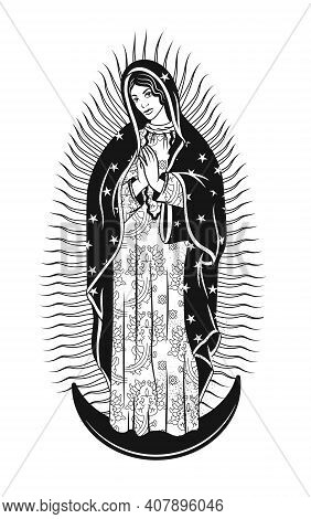 Virgin Of Guadalupe. The Virgin Mary Vector Poster Illustration.