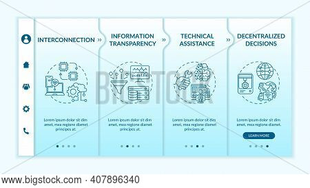 Industry 4.0 Design Principles Onboarding Vector Template. Info Transparency. Decentralized Decision
