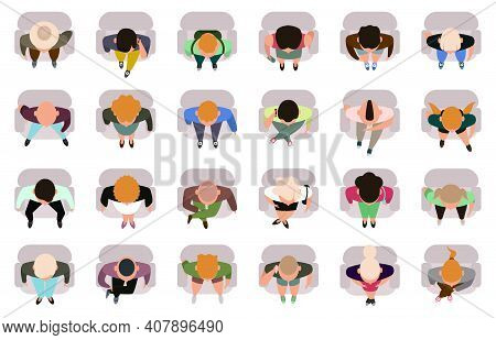 Sitting People Top View. Male And Female Sitting Characters View From. Business Or Student People Si