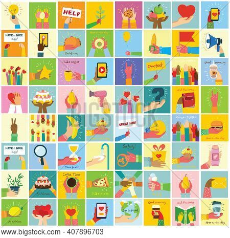 Hand-drawn Illustrations Of Hands Holddifferent Things, Such As Smartphone, Pizza, Ice Cream, Donut
