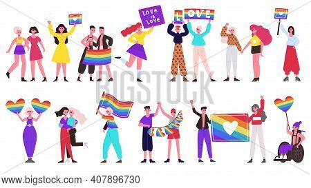 Pride Parade. Lgbtq Community Movement, Lesbian, Gay, Bisexual And Transgender People Group With Rai