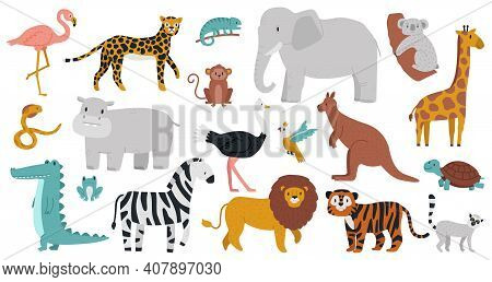 Cute African Animals. Wood, Jungle Or Savanna Animals, Leopard, Giraffe, Hippo, Crocodile And Zebra.