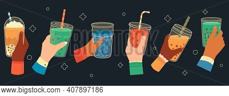 Bubble Tea Cups In Hands. Sweet Boba Tea, Hand Holding Bubble Tea Cup, Popular Taiwanese Drink. Hand