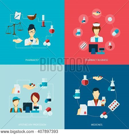 Pharmacist Icons Flat Set With Pharmacy Business Apothecary Profession Medicines Isolated Vector Ill