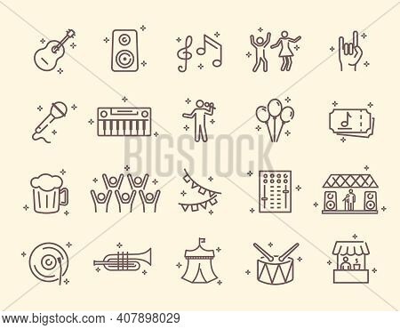 Collection Of Outline Music Festival Icons. Contains Such Icons As Guitar, Singer, Concert, Stage, H