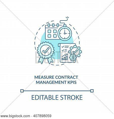 Measure Contract Management Kpis Concept Icon. Efficient Contract Management Advices. Information Ab