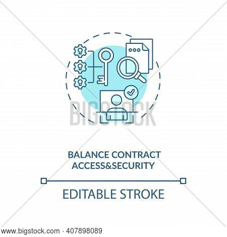 Balance Contract Access And Security Concept Icon. Efficient Contract Management Process. Contract I