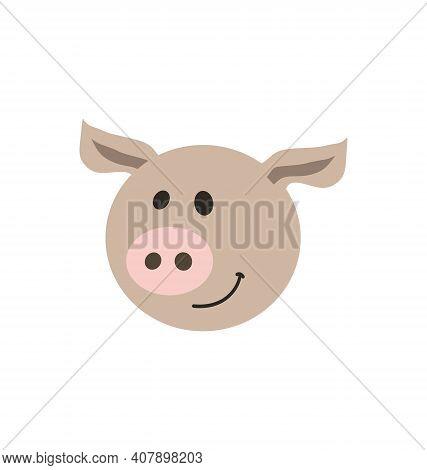 Cute Pig Head - Smiling - Flat Cartoony Vector Isolated