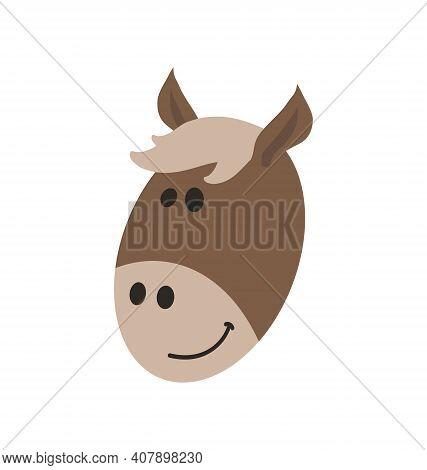 Cute Horse Head - Smiling - Flat Cartoony Vector Isolated