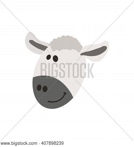 Cute Sheep Head - Smiling - Flat Cartoony Vector Isolated