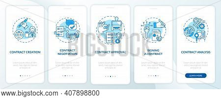 Contract Lifecycle Steps Onboarding Mobile App Page Screen With Concepts. Contract Preparing Walkthr