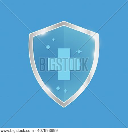 Antibacterial Sanitizer Or Antiseptic Label. Antimicrobial, Resistant Badge. Symbol Of Protection. B
