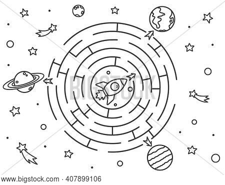 Space Maze Puzzle Or Labyrinth Game For Kids. Coloring Page With Tangled Road. Outline Cartoon Rocke