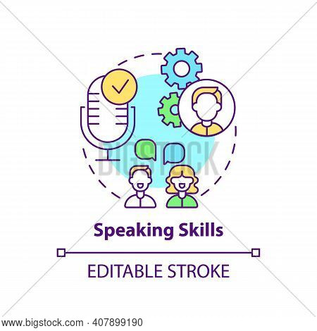 Speaking Skills Concept Icon. Language Learning Competence Idea Thin Line Illustration. Effective Co