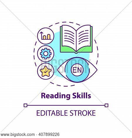 Reading Skills Concept Icon. Language Learning Competence Idea Thin Line Illustration. Decoding Mean