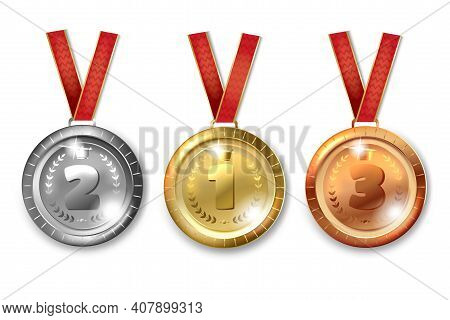 Gold Silver Bronze Medals. Symbols Of Victory And Success. Champion Winner Award Metal Medals. Honor