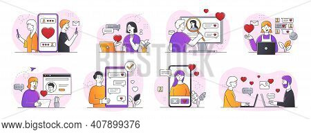 Collection Of Online Dating Abstract Concepts. People Using Online Dating Apps. Set Of Minimal Style