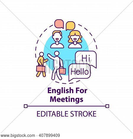 English For Meetings Concept Icon. Business English Purpose Idea Thin Line Illustration. Effective C