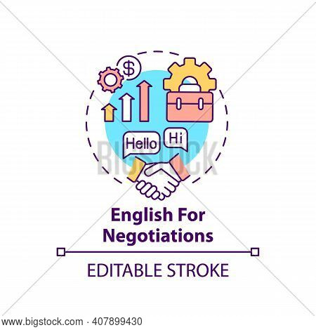 English For Negotiations Concept Icon. Business English Purpose Idea Thin Line Illustration. Increas
