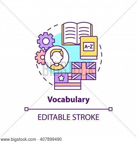 Vocabulary Concept Icon. Language Learning Category Idea Thin Line Illustration. Wordstock, Word-sto