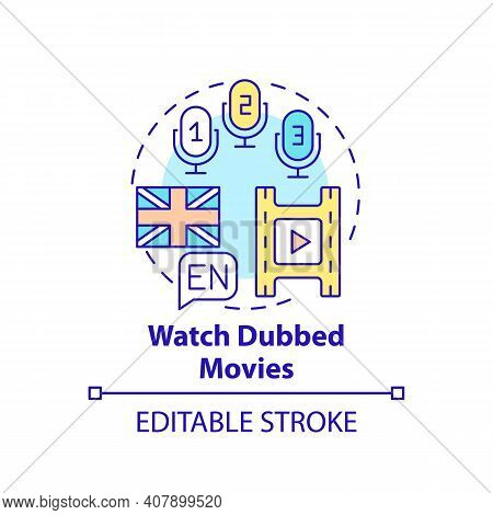 Watching Dubbed Movies Concept Icon. Learning Language Tip Idea Thin Line Illustration. Watching For