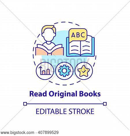 Reading Original Books Concept Icon. Learning Language Tip Idea Thin Line Illustration. Building Voc