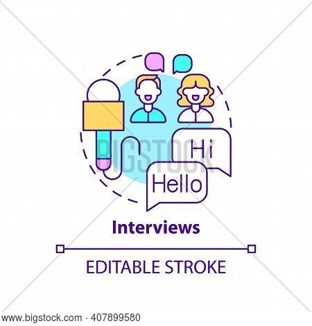 Interviews Concept Icon. Video For Language Learning Idea Thin Line Illustration. Learning New Words