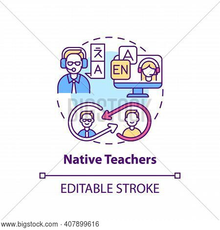 Native Teachers Concept Icon. Online Language Courses Idea Thin Line Illustration. Speaking Clearly,