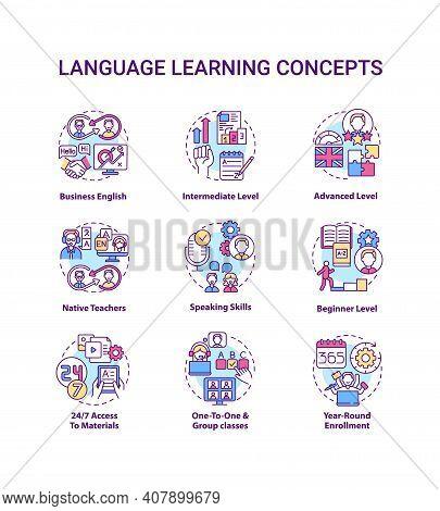 Language Learning Concept Icons Set. Language Acquisition Idea Thin Line Rgb Color Illustrations. Sp