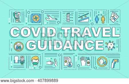 Covid Travel Guidance Word Concepts Banner. Maintaining Social Distance On Plane. Infographics With