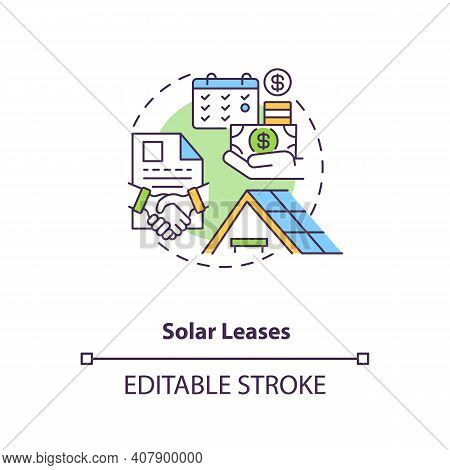 Solar Leases Concept Icon. Using Produced Power Of Battery Idea Thin Line Illustration. Leasing Arra