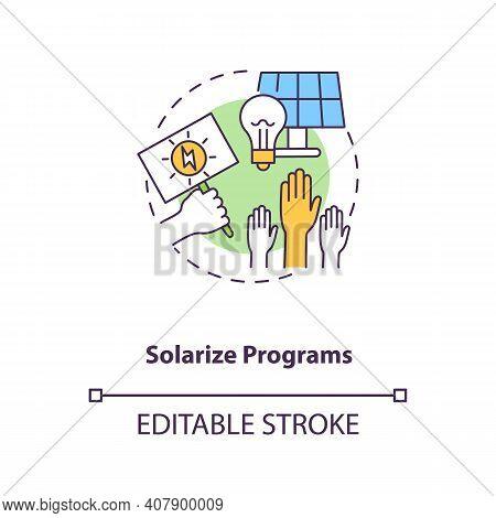 Solarize Programs Concept Icon. Solar Photovoltaic Group-purchasing Program Idea Thin Line Illustrat