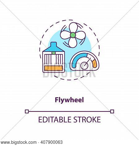 Flywheels Concept Icon. Storing Electricity In Spinning Mass Idea Thin Line Illustration. Returning