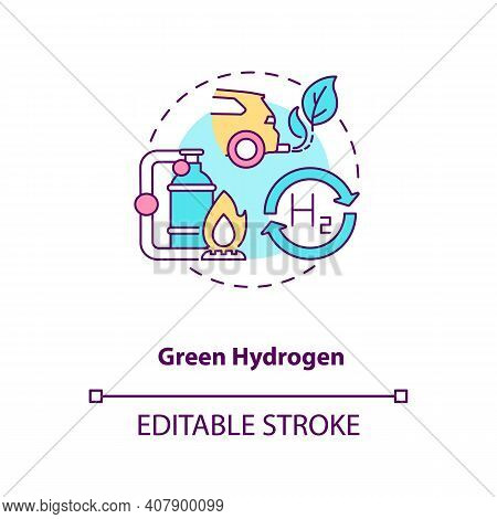 Green Hydrogen Concept Icon. Reducing Greenhouse Gas Emissions Idea Thin Line Illustration. Using He