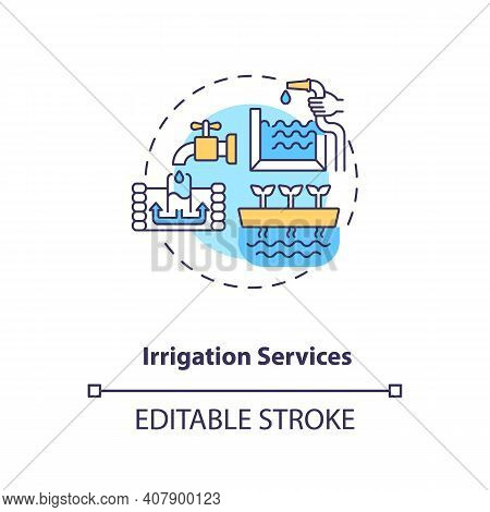 Irrigation Services Concept Icon. Water Power Technologies Idea Thin Line Illustration. Ways To Acce