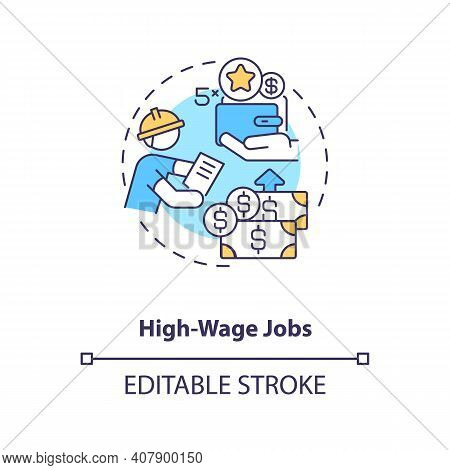 High-wage Jobs Concept Icon. Hydropower Workforce To Grow Idea Thin Line Illustration. Offering High