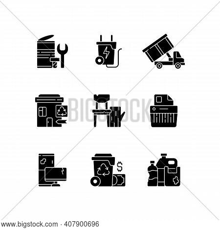 Garbage Collection Black Glyph Icons Set On White Space. Metal Waste. Energy-from-waste. Open-top Du
