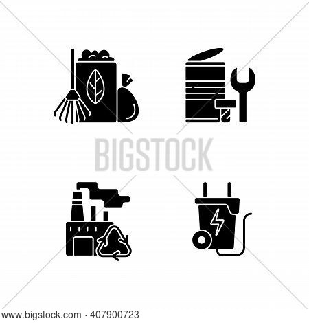 Environmental Concern Black Glyph Icons Set On White Space. Yard Waste Collection. Scrap Iron And Al