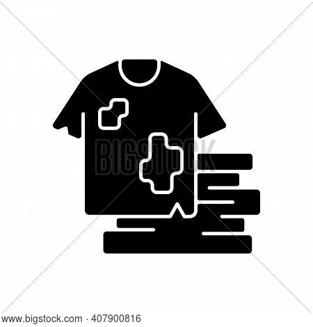 Textile Waste Black Glyph Icon. Clothing, Footwear. Fashion And Textile Industry Refuse. Post-consum
