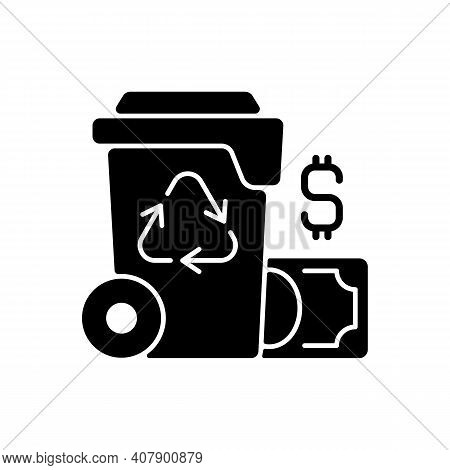 Waste Management Cost Black Glyph Icon. Recycling Waste Costs. Source Reduction. Financing And Servi