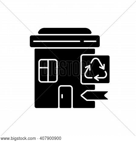 Recycling Collection Center Black Glyph Icon. Landfill And Material Recovery Facility. Drop-off Cent