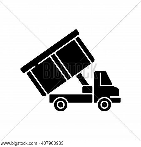 Roll-off Truck Black Glyph Icon. Open Top Dumpster. Organizational Clear Outs. Convenient Disposal O